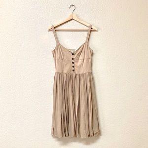 Burberry Tan Pleated Mini Dress